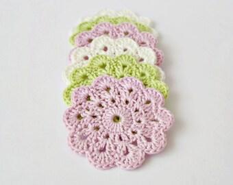 Crochet coasters, drink coasters, crochet flowers, table decor, wedding gift, home decorations, nursery decor, baby shower gift
