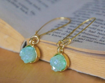 Mint Green Authentic Druzy Drop Earrings on Gold Kidney Brass Wires (Jonquil, Harlequin, Malachite, Chartreuse, Pear, Crystal)