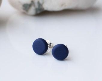 Navy Blue studs, Minimalist Blue earrings, Matte Navy studs, Beaded Round studs, Blue post earrings, Navy stud earrings, Simple stud earring