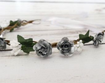 Handcrafted Silver and White Flower Crown - Silver and White Wedding - Silver Renaissance Flower Crown - Flower Girl Halo - Woodland Wreath