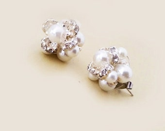 Cluster Stud Earrings Bridal Stud Earrings Wedding Earrings Stud Bridal Jewelry Pearl Crystal Pearl Earrings Vintage, Wedding Jewelry