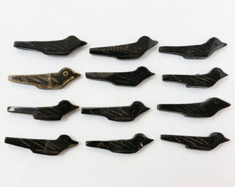 Zuni Native American Hand Carved Bird Fetish Pendants or Beads Pair Large Size
