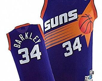 Charles Barkley #34 Phoenix Suns Purple Throwback Jersey (S/M/L/XL/XXL) All Sewn/Stitched!