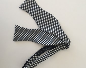 Men and Teen's Black Gingham Bow Tie