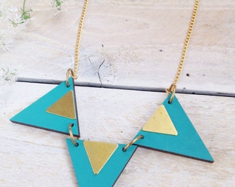 Geometric Necklace/Triangle Necklace/Triangle Jewellery/Geometric Jewellery/Laser cut Wood/Brass/Turquoise/Gift for her/valentinesdaygift