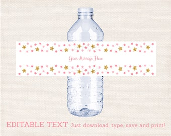 Pink & Gold Twinkle Star Water Bottle Labels / Twinkle Star Baby Shower / Printable INSTANT DOWNLOAD Editable PDF A196
