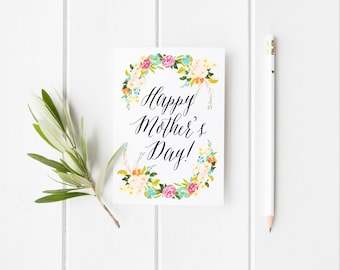 Happy Mother's Day Greeting Card - Watercolor Flowers - Floral Card