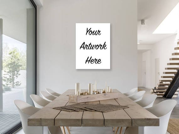 Canvas wall art mockup template styled stock photo in modern canvas wall art mockup template styled stock photo in modern dining room 3 to 4 ratio 3x4 portrait vertical orientation blank canvas sciox Choice Image