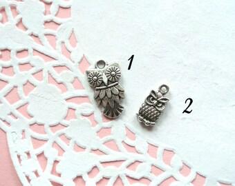 Lotto 10 Owl Pendants (1)-Owl Silver Charms