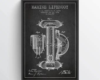 1894 Marine Lifebuoy Patent, Nautical Poster, Nautical Print, Patent Art Print, Patent Print, Home Decor, Gift Idea, NA20P