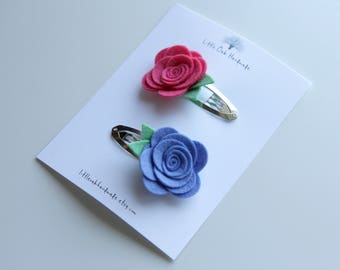 Set of 2 Wool Felt Flower Hair Clips - Lilac and Coral Pink - Baby Hair Clip