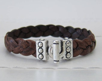Brown Braided Flat Leather (10MM) Bracelet with Silver Toggle Clasp