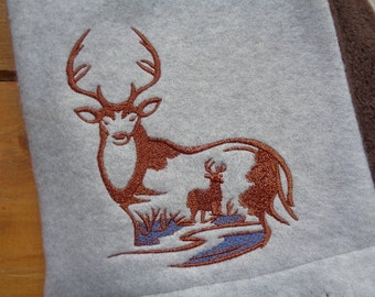 Embroidered Stag Deer Fleece Scarf