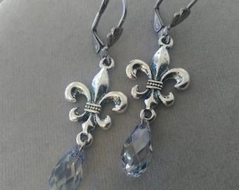 Fleur-de-lys and Swarovski Crystal Leverback Earrings