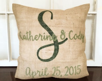 Name And Date Wedding Pillow