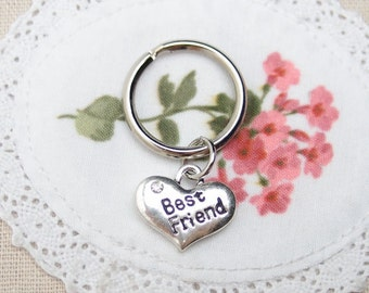Best Friend heart keychain keyring, sterling silver filled, love heart charm, mother daughter, bff keychain, boyfriend girlfriend keychain