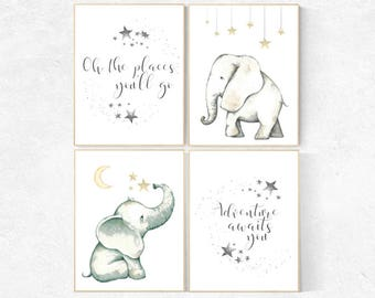 Elephant decor for nursery, Nursery decor neutral, oh the places you'll go, nursery prints elephant, elephant nursery, kids room, adventure