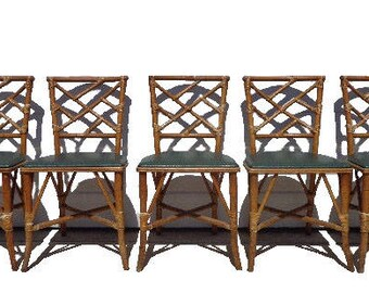 5 Chairs Chinese Chippendale Chic Hollywood Regency Rattan Armchair Seating Rattan Coastal Chinoiserie Bamboo Miami Seating Mid Century Boho