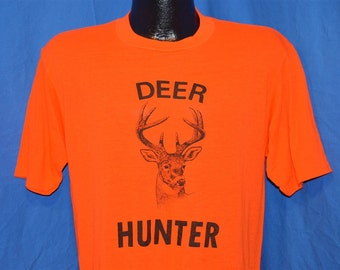 80s Deer Hunter Acrylic Orange Hunting t-shirt Medium