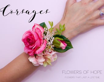 pink rose corsage...Artificial corsage ideal for prom, weddings etc with gift box.