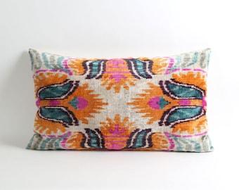 ikat velvet pillow, ikat pillow cover, velvet pillow, 16x26 colorful pillow cover, handwoven ikat pillow