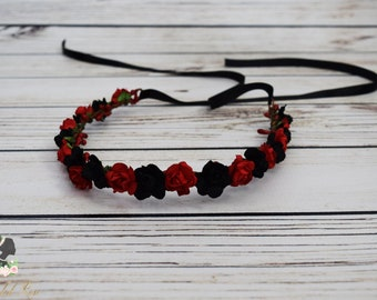 Handcrafted Black and Red Rose Flower Crown - Woodland Flower Halo - Bridal Flower Crown - Renaissance Headband - Red and Black Wedding Hair