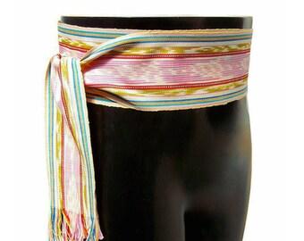 Strawberry Lemonade Sash, SA45 - Bohemian Belt - Guatemalan Textiles - Ikat Fabric - Pink Sash - Gypsy Clothing - Woven Sash