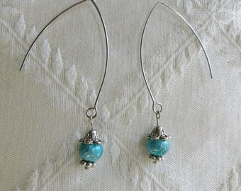 V-Shaped Silver Earring with Turquoise Bead, SE-285