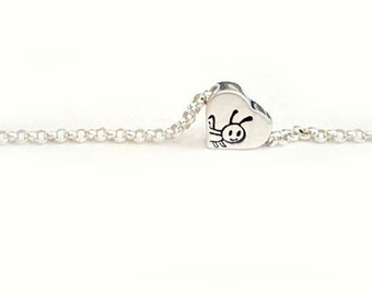 Tiny Love For Buggies - Grasshopper - Free Floating Heart Pendant in Sterling Silver Handstamped Super Tiny