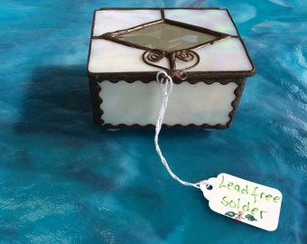 White iridescent jewelry boxes