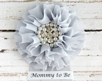 Gray Baby Shower Corsage Pin with Mommy to Be, Grandma to Be, Bride to Be, and other Custom Tags