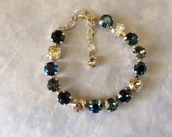 Swarovski Navy Blue - Silver Crystal Tennis Bracelet, 8mm dark blue tennis bracelet, crystal bracelet, bridesmaid bracelet, tennis bracelet