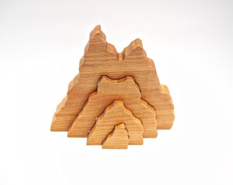 Wooden toy Waldorf Toy Wooden Mountain Toddler Toy Puzzle Kids Birthday Gift Baby & Toddler Toys