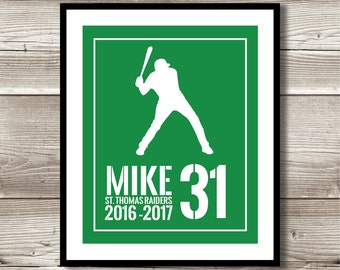 Baseball Art, Baseball Gift, Personalized Baseball Print, Baseball Wall Art, Baseball Team Gift, Digital Print