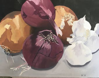 Onions 9x12 original still life oil painting, kitchen art,vegetable art.food art