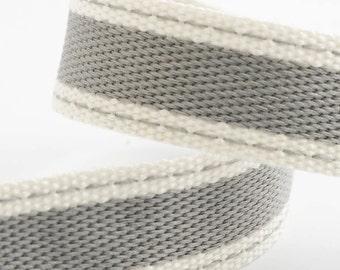 Full Reel 10m Sadle Stitch Cotton Twill Ribbon - Silver Grey