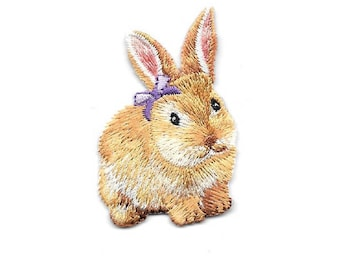 Bunny - Rabbit - Purple Bow - Easter - Embroidered Iron On Applique Patch