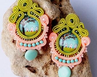 Soutache earrings OhrsteckerBoho jewelry beads chandelier earrings bead beads handmade jewelry