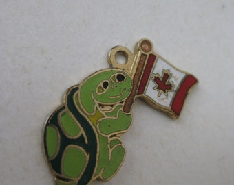 Turtle Canada Flag Charm Enamel Gold Green Red Vintage