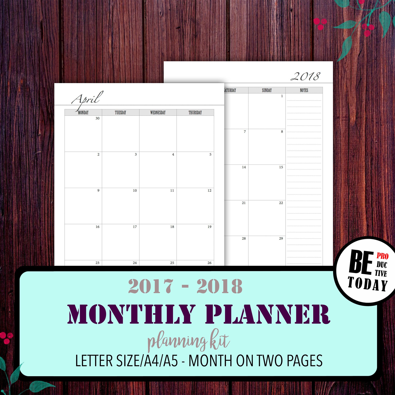 Monatliche Kalender 2017-2018 Monat auf zwei Seiten