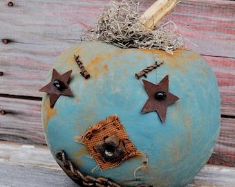 Prim One-of-a-kind Aqua Blue Jack-O-Lantern