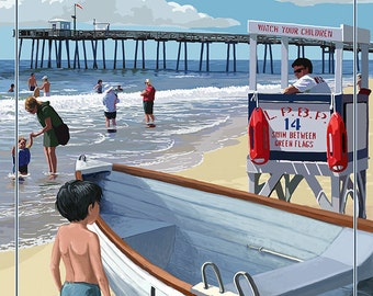 Longport, New Jersey - Lifeguard Stand (Art Prints available in multiple sizes)