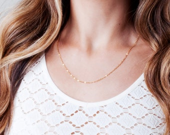 Thin Gold Filled Chain, Plain Necklace Chain, Silver Layered Necklace, Simple Chain, Long Rose Gold Necklace, Link Necklace, Choker Necklace