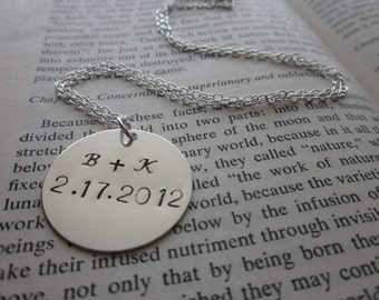 The Ella Necklace - Custom Sterling Silver Hand Stamped Necklace - One Inch