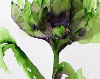 Artisjok aquarel, moderne botanische kunst Print, originele kunst van de keuken, grote artisjok Print