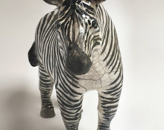 Hand made raku fired ceramic zebra