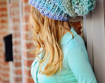Hat | Slouch Hat | Winter Hat | Crochet | PomPom Hat | Accessory | Sky Blue Hat | Cold | Warm | Cozy Hat | Silky Soft Hat | Made in the US