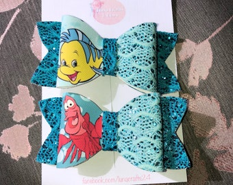 Disney little mermaid flounder inspired girls glitter hair bow, glitter bow, hair bow, fringe clip