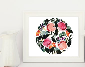 Hand-painted Watercolor Print - Peony in the Round: A Bright Floral Print with Modern Watercolor Florals