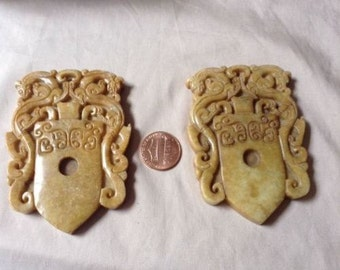 Very Beautiful Pair of Chinese Carved Jade or Stone Amulets
